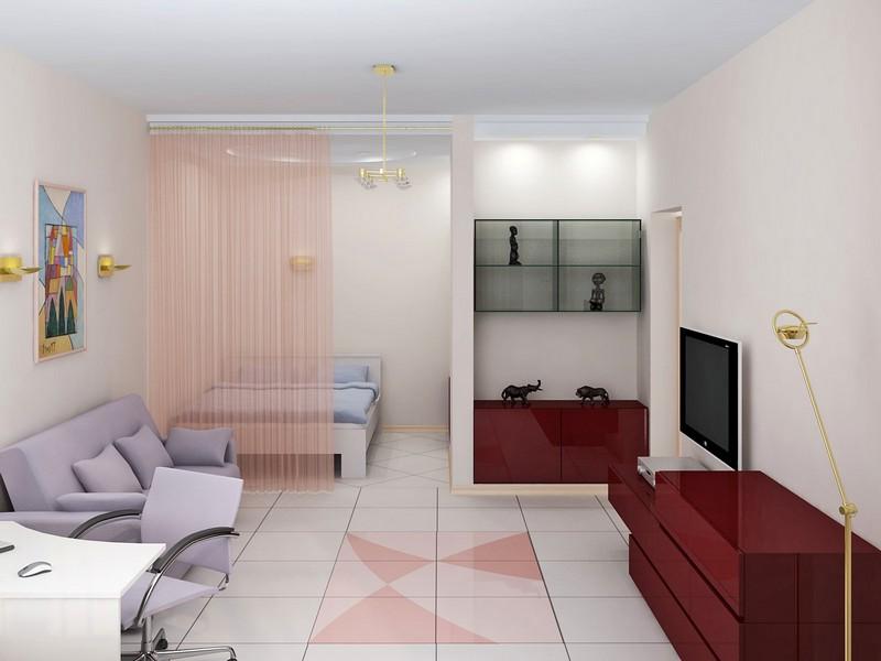 Выделение зоны отдыха в однокомнатной квартире