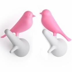 Вешалки настенные sparrow 2 шт. белые-розовые, Qualy