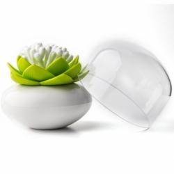 Контейнер для хранения ватных палочек lotus белый-зеленый, Qualy