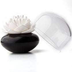 Контейнер для хранения ватных палочек lotus черный-белый, Qualy