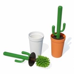 Ершик для туалета cactrash, белый с зеленым, Qualy
