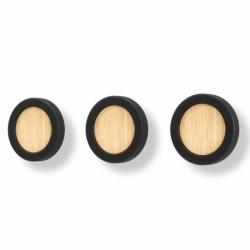 Вешалки-крючки hub черные/дерево, Umbra