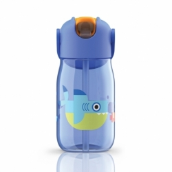 Бутылка с силиконовой соломинкой 415 мл синяя, Zoku