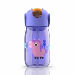 Бутылка с силиконовой соломкой 415 мл фиолетовая, Zoku