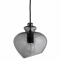 Лампа подвесная grace, d23 см, дымчатое стекло, черный цоколь, Frandsen