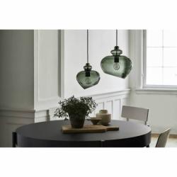 Лампа подвесная grace, d23 см, зеленое дымчатое стекло, черный цоколь, Frandsen