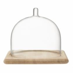 Блюдо со стеклянным куполом Serve 20,5 х 25 см дуб, LSA International