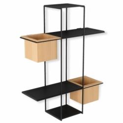 Полка-органайзер с 2 кашпо Cubist Multi черная, Umbra