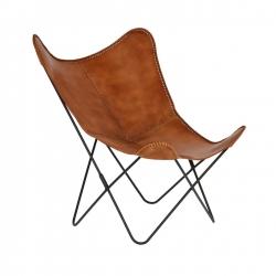 Кресло-бабочка Flynn коричневая кожа