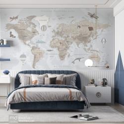 Бесшовные детские обои Карта мира подробная, Mondeco