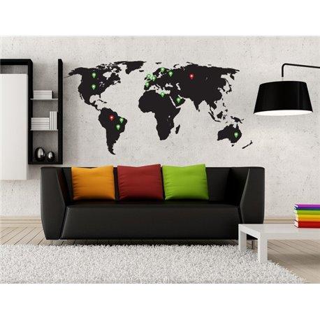 Виниловая наклейка Карта мира с отметками