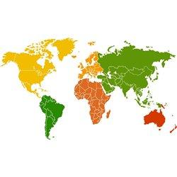 Интерьерная наклейка на стену Карта мира (Цвета)