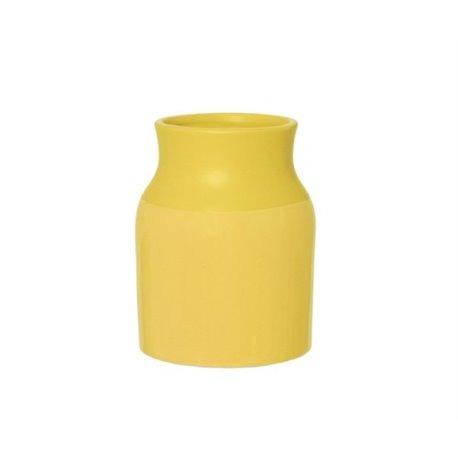 Керамическая ваза Present Time Sturdy Dipped желтая