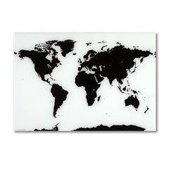 Стеклянная магнитно-маркерная доска Naga Карта мира