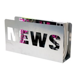 Газетница Present Time News серебристая