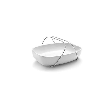 Блюдо керамическое с ручками среднее белое