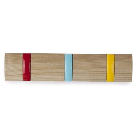 Вешалка настенная горизонтальная Flip 3 крючка разноцветная