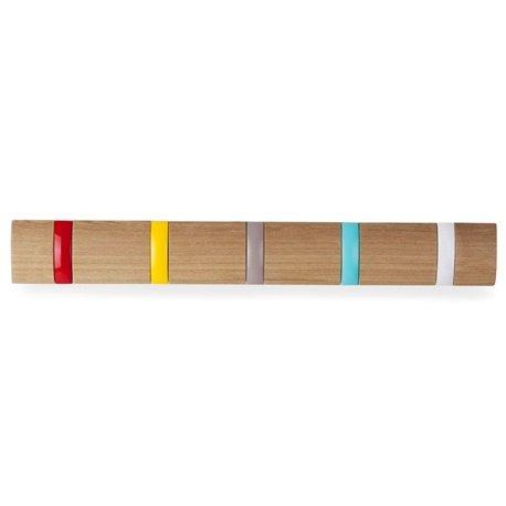 Вешалка настенная Flip 5 крючков дерево/разноцветная