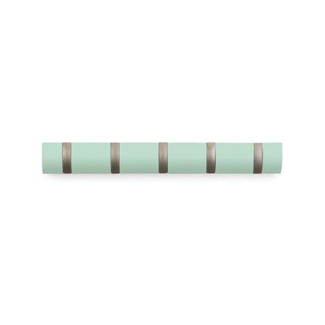 Вешалка настенная Flip 5 крючков мятная