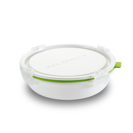 Ланч-бокс Round малый белый/зелёный