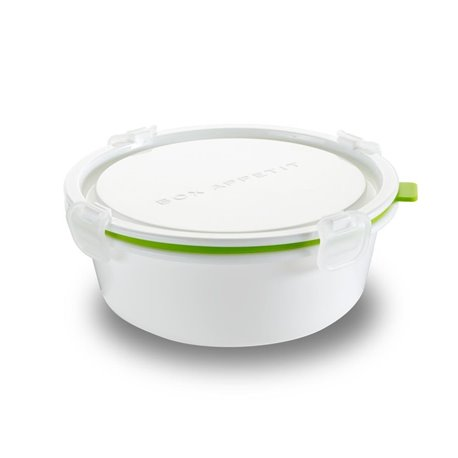 Ланч-бокс round большой белый/зелёный