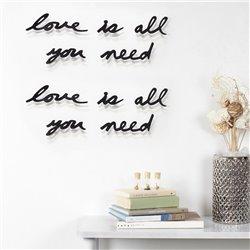 Надпись настенная Love is all you need черная