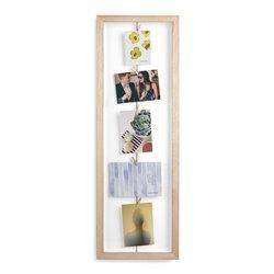 Панно с зажимами для 7 фото Clothesline натуральное дерево, Umbra
