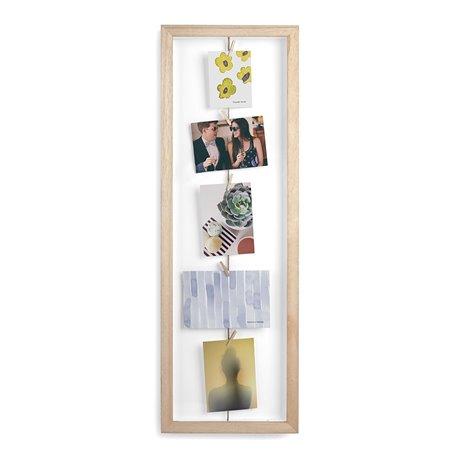 Фоторамка с зажимами для 7 фото clothesline натуральное дерево