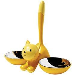 Миска для кошки Tigrito двойная желтая, Alessi