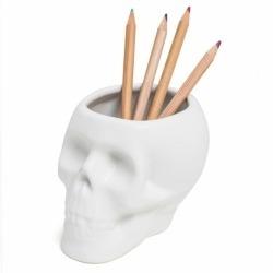 Держатель для ручек керамический Skully белый, Balvi