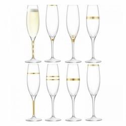 Набор из 8 бокалов-флейт с золотым декором Deco 225 мл, LSA