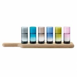 Набор из 6 стопок на подставке Paddle 40 см цветное стекло, LSA