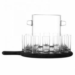 Набор из ведёрка для льда и 12 стопок на подставке Paddle 38.5 см прозрачное стекло, LSA