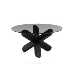 Стол Ding, дымчатое стекло-черный, Normann Copenhagen