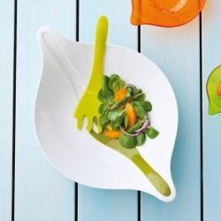 Салатница с приборами leaf l+, 3 л, бело-зелёная, Koziol