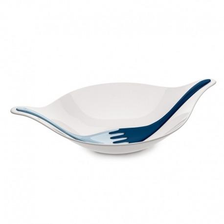 Салатница с приборами leaf l+, 3 л, бело-синяя, Koziol