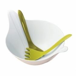 Салатница с приборами leaf 2.0, 4 л, бело-зелёная, Koziol