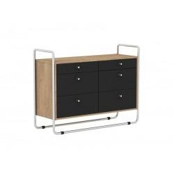 Комод Bauhaus черный / светлый шпон, Woodi