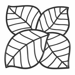 Набор из 4 декоративных элементов leaf, чёрный, Koziol