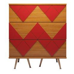 Комод Lady Woo с цветным узором красный, Woodi