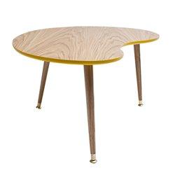 Столик журнальный Почка желто-горчичный / светлый шпон, Woodi