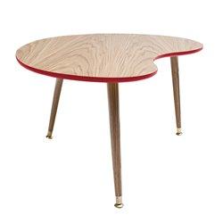 Столик журнальный Почка красный / светлый шпон, Woodi