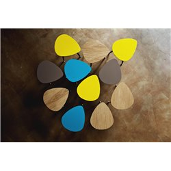 Приставной столик Капля бирюзовый / светлый шпон, Woodi