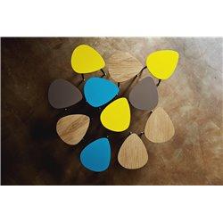 Приставной столик Капля желтая охра / светлый шпон, Woodi