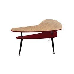 Журнальный стол Бумеранг красный / светлый шпон, Woodi