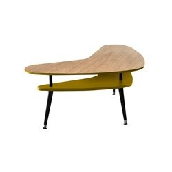 Журнальный стол Бумеранг желто - горчичный / светлый шпон, Woodi