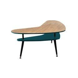 Журнальный стол Бумеранг бирюзовый / светлый шпон, Woodi