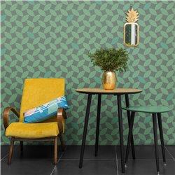 Круглый стол Спутник бирюзовый / светлый шпон, Woodi
