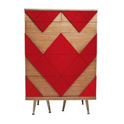 Комод с ящиками Big Woo красный / светлый шпон, Woodi