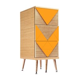 Узкий комод Slim Woo оранжевый / светлый шпон, Woodi